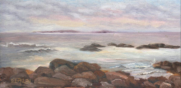 Isles Of Shoals Art Print featuring the painting Isles of Shoals from Odiorne Point by Sharon E Allen