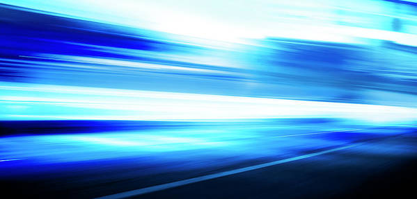 Empty Art Print featuring the digital art Motion Blue Road by Aaron Foster