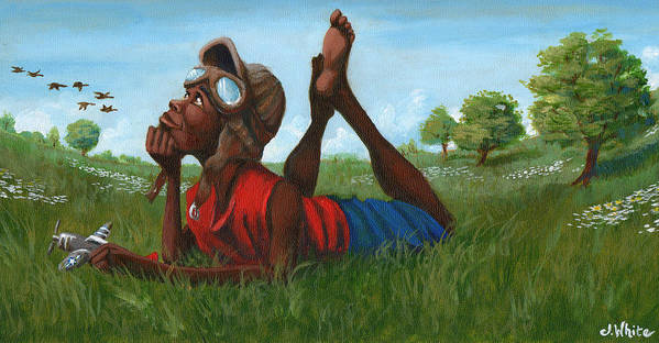 Tuskegee Art Print featuring the painting Red Tail Dreamer by Jerome White