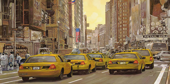New York Art Print featuring the painting yellow taxi in NYC by Guido Borelli