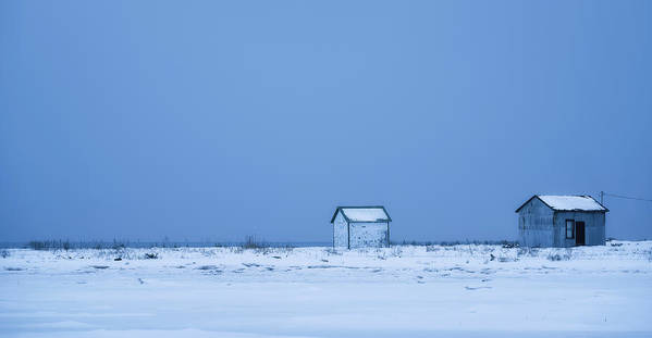 Winter Art Print featuring the photograph Two Shacks by Christian Duguay