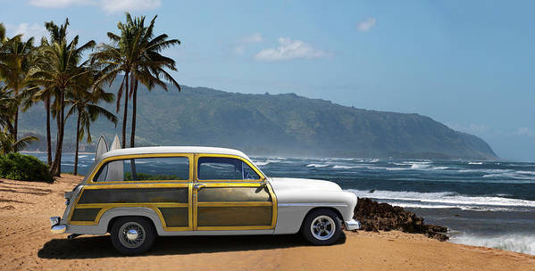 Haleiwa Art Print featuring the photograph Vintage Woody On Hawaiian Beach by Ed Freeman