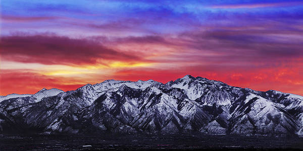 Sky Art Print featuring the photograph Wasatch Sunrise 2x1 by Chad Dutson