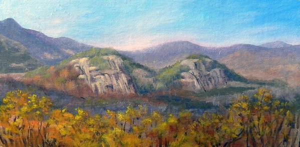 Landscape Art Print featuring the painting Whitehorse and Cathedral Ledges from The Red Jacket Inn by Sharon E Allen