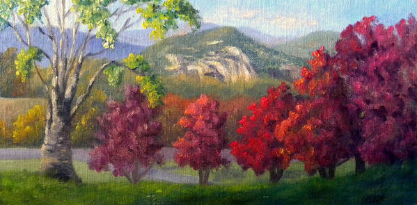Landscape Art Print featuring the painting Fall View from the Red Jacket Inn by Sharon E Allen