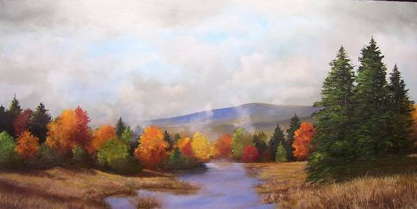 Fall Art Print featuring the painting Fall Pond Scene by Ken Ahlering