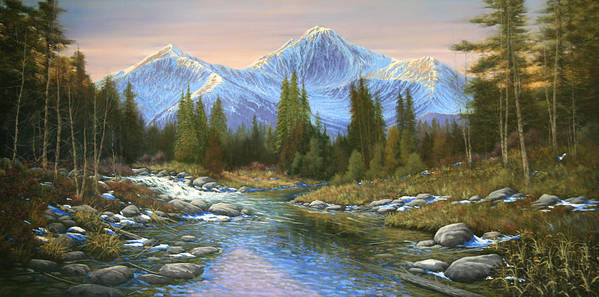 Landscape Art Print featuring the painting 100807-3060 Seasons Change by Kenneth Shanika