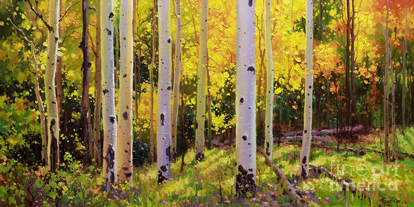 Aspen Forest Tree Art Print featuring the painting Aspen Symphony by Gary Kim