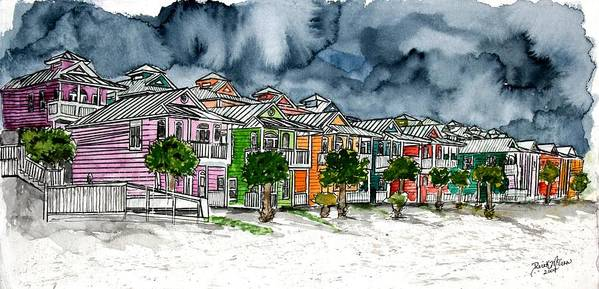Watercolor Art Print featuring the painting Beach Houses Watercolor Painting by Derek Mccrea