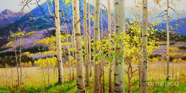Aspen Forest Tree Art Print featuring the painting Beauty of Aspen Colorado by Gary Kim