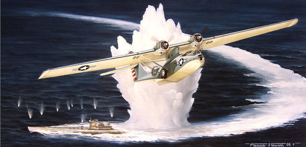 Military Art Print featuring the painting Caught on the Surface by Marc Stewart