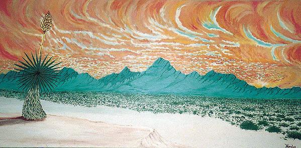 Desertscape Art Print featuring the painting Desert Splendor by Marco Morales