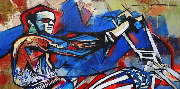 Peter Fonda Art Print featuring the painting Easy Rider Captain America by Eric Dee