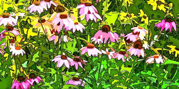 Contemporary Art Print featuring the digital art Echinacea Imagined by Linda Mears