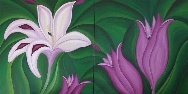 Marinella Owens Art Print featuring the painting Gladiolus Carneus by Marinella Owens