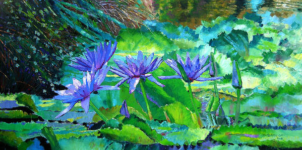 Purple Water Lilies Art Print featuring the painting Harmony of Purple and Green by John Lautermilch
