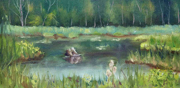 Marsh Art Print featuring the painting In Company of Bullfrogs by Sharon E Allen