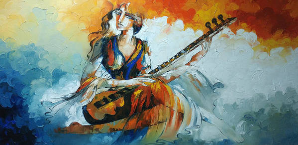 Abstract Art Print featuring the painting Lady Playing Sitar by Sajida Hussain