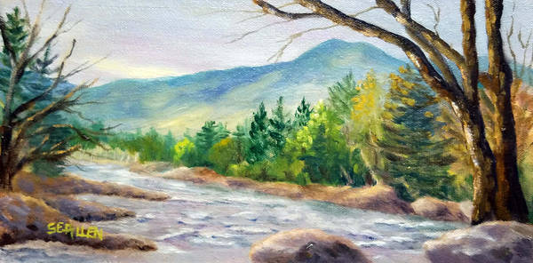 Saco River Art Print featuring the painting Late Afternoon on the Saco by Sharon E Allen