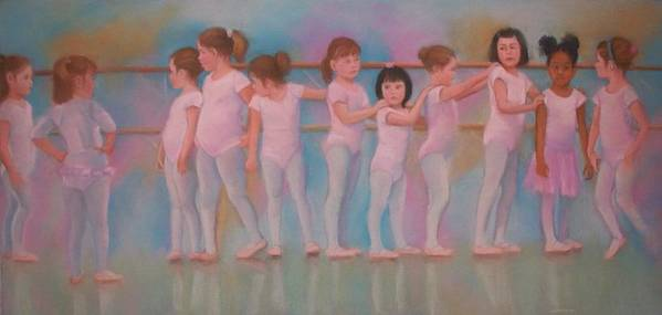 Ballerinas Children Art Print featuring the pastel Little Ballerinas Out of Line by Diane Caudle