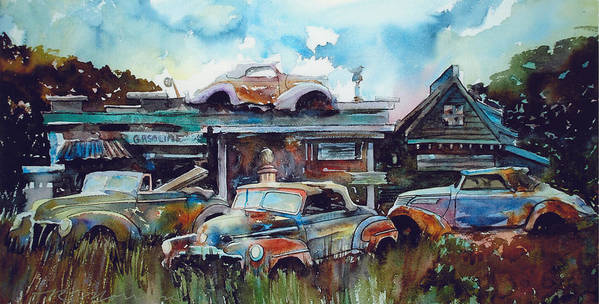 Fords Art Print featuring the painting Lytton Station by Ron Morrison