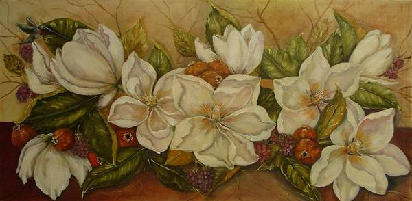 Magnolia Art Print featuring the painting Magnolias by Tresa Crain