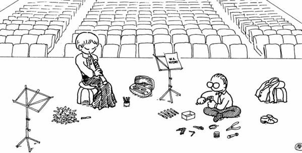 Oboe Art Print featuring the drawing Making Oboe Reeds On The Stage by Minami Daminami