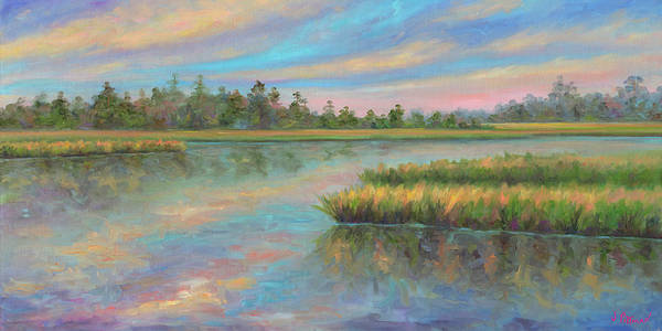 Marsh Art Print featuring the painting Marsh Glow in the Low Country by Jeff Pittman