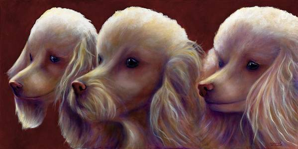 Dogs Art Print featuring the painting Molly Charlie and Abby by Shannon Grissom