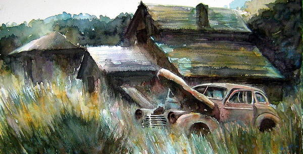 Car Barn Trees Art Print featuring the painting On Borrowed Time by Ron Morrison