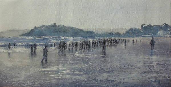 Sardinero Art Print featuring the painting Paseo Por La Playa Del Sardinero by Tomas Castano