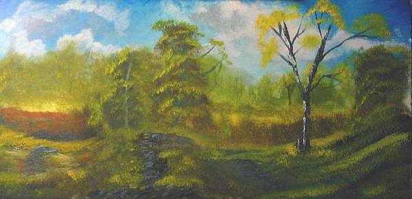 Peaceful Land Bryan Perry Art Print featuring the painting Peaceful land 12x24 by artist bryan perry by Bryan Perry
