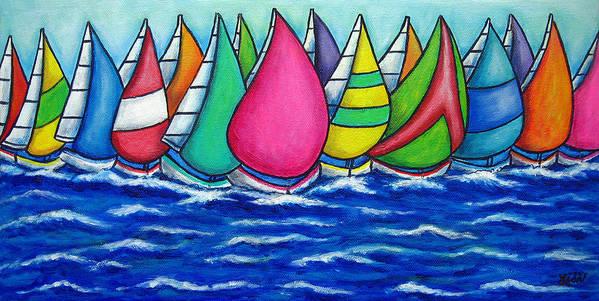 Boats Art Print featuring the painting Rainbow Regatta by Lisa Lorenz