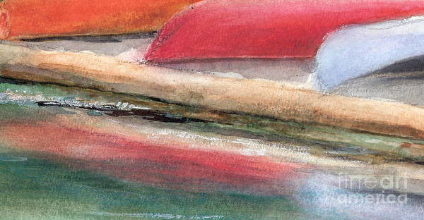 Boats Art Print featuring the painting Reflections by Vi Mosley