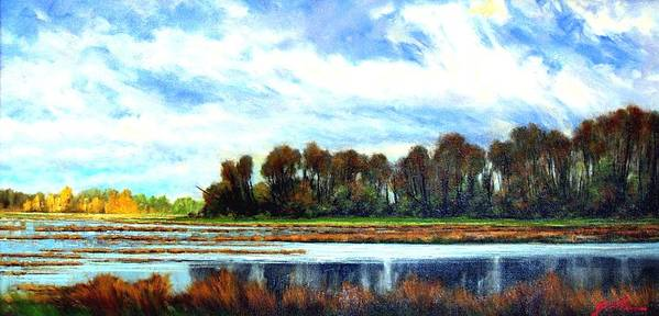 Landscapes Art Print featuring the painting Ridgefield Refuge Early Fall by Jim Gola