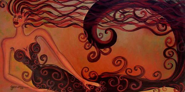 Mermaid.women Art Print featuring the painting Tera Cotta Mermaid by Helen Gerro
