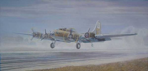 The Only Survivor Of The 100th Bomb Group On The October 10 Art Print featuring the painting The Royal Flush comes home by Scott Robertson