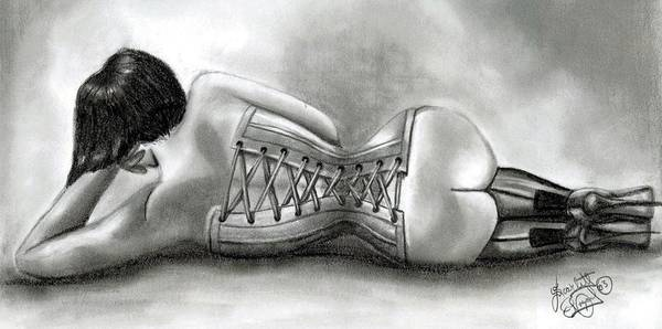 Figure Art Print featuring the drawing Tight Lace by Scarlett Royal