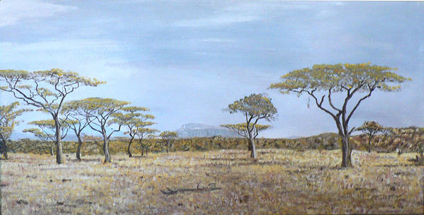 African Veldt Art Print featuring the painting Veldt by Dan Bozich