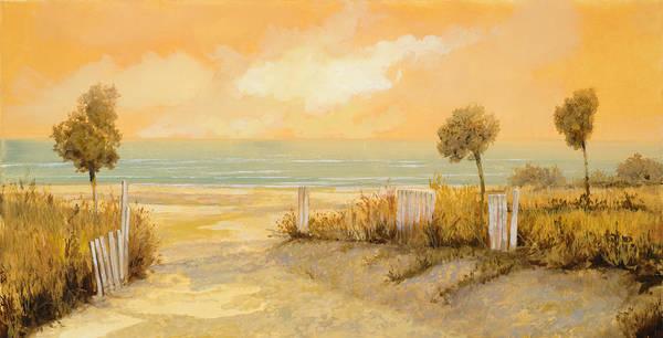 Beach Art Print featuring the painting Verso La Spiaggia by Guido Borelli