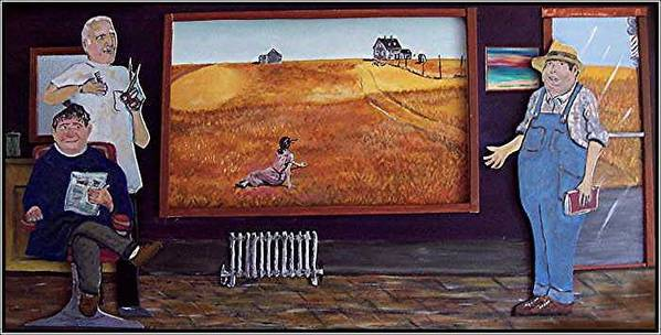 Farm Art Print featuring the relief Yeah Shes Been Out There For A While Now by Richard Hubal
