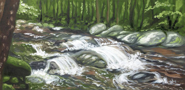 Oil Painting Art Print featuring the painting Asheville Mountain Stream by Billie Mann