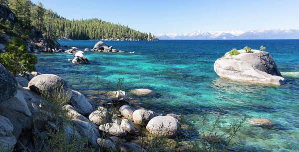 Scenics Art Print featuring the photograph Bonsai Rock, Lake Tahoe, Panorama by Picturelake