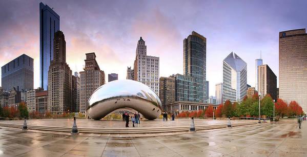 Dawn Art Print featuring the photograph Millennium Park, Chicago, Illinois,usa by Travelpix Ltd