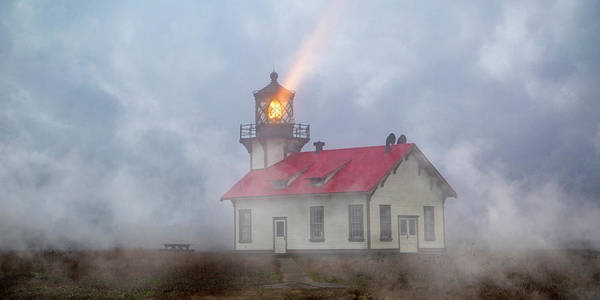 Lighthouse Art Print featuring the photograph Mystical Point Cabrillo Lighthouse California by Betsy Knapp