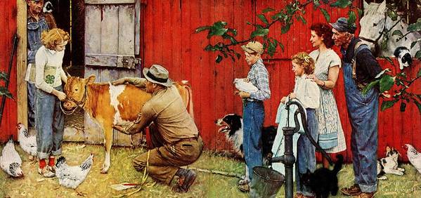 Cow Art Print featuring the drawing Norman Rockwell Visits A County Agent by Norman Rockwell