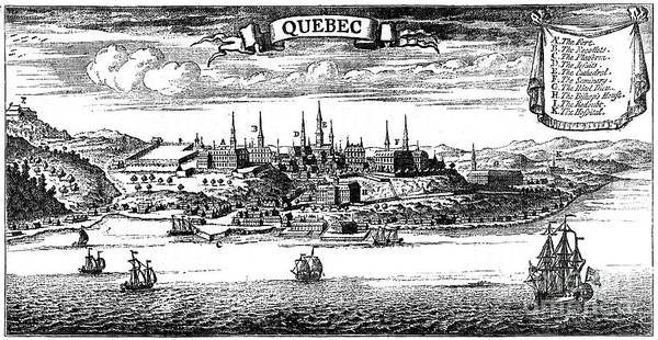 Engraving Art Print featuring the drawing Old View Of Quebec, 1730 C1880 by Print Collector