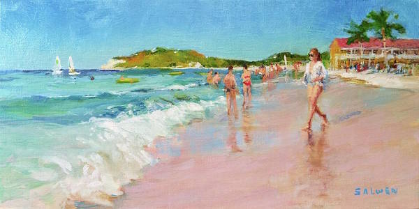 Sun Art Print featuring the painting Pineapple Beach, Antigua by Peter Salwen