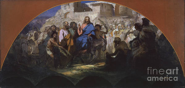 Oil Painting Art Print featuring the drawing Try Of Christ Into Jerusalem, 1876 by Heritage Images