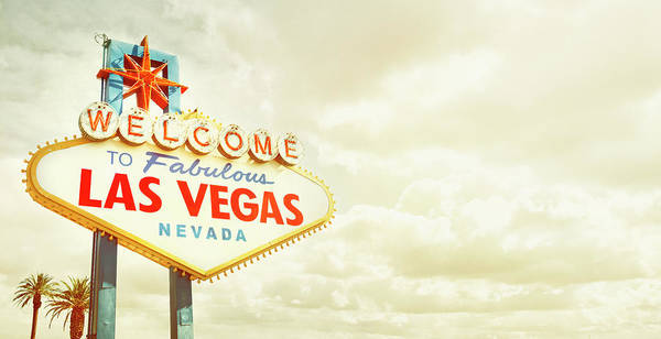 Panoramic Art Print featuring the photograph Vintage Welcome To Fabulous Las Vegas by Powerofforever